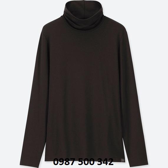 Áo giữ nhiệt cổ lọ nữ Heattech Extra Warm Uniqlo màu đen 09 BLACK