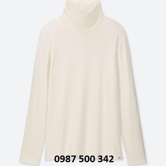 Áo giữ nhiệt cổ lọ nữ Heattech Extra Warm Uniqlo màu trắng 01 OFF WHITE