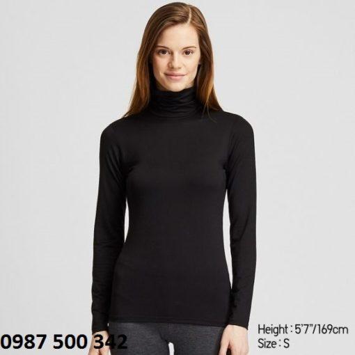 Áo giữ nhiệt nữ cổ lọ Heattech Uniqlo loại thường màu đen 09 BLACK