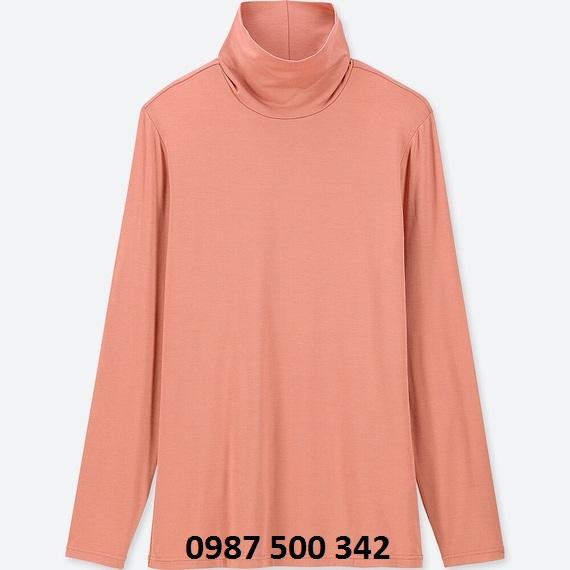 Áo giữ nhiệt nữ cổ lọ Heattech Uniqlo loại thường màu hồng 12 PINK