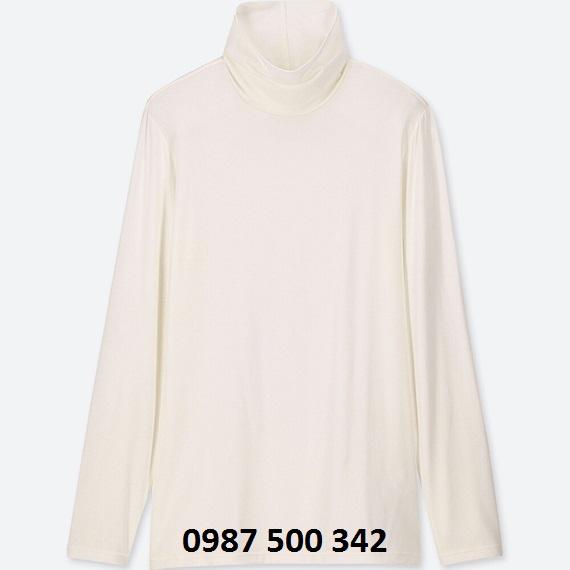 Áo giữ nhiệt nữ cổ lọ Heattech Uniqlo loại thường màu trắng 01 OFF WHITE