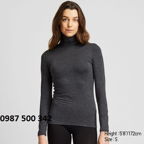 Áo giữ nhiệt nữ cổ lọ Heattech Uniqlo loại thường màu xám 08 DARK GRAY