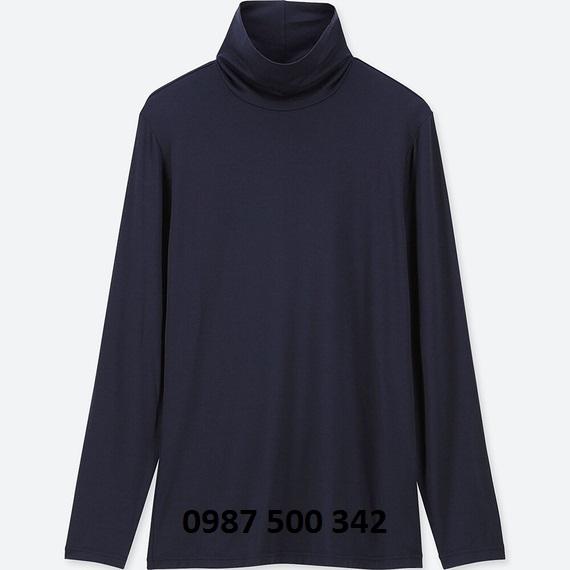Áo giữ nhiệt nữ cổ lọ Heattech Uniqlo loại thường màu xanh đen 69 NAVY