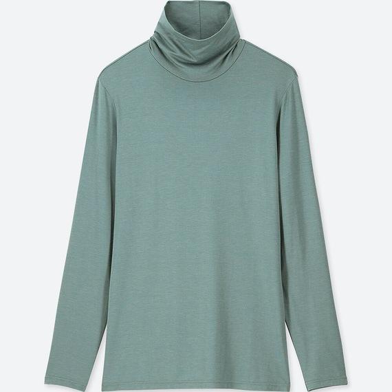 Áo giữ nhiệt nữ cổ lọ Heattech Uniqlo loại thường màu xanh mạ 53 GREEN