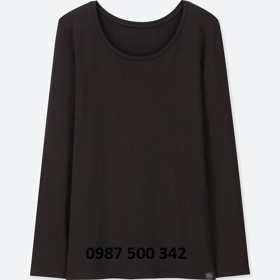 Áo giữ nhiệt nữ cổ tròn Heattech Extra Warm Uniqlo màu đen 09 BLACK