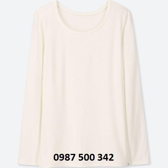 Áo giữ nhiệt nữ cổ tròn Heattech Extra Warm Uniqlo màu trắng 01 OFF WHITE