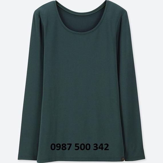 Áo giữ nhiệt nữ cổ tròn Heattech Extra Warm Uniqlo màu xanh cổ vịt 58 DARK GREEN