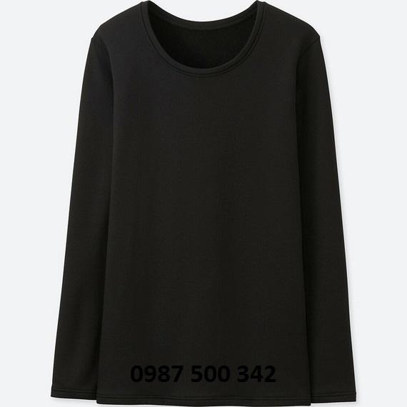 Áo giữ nhiệt nữ cổ tròn Heattech Ultra Warm Uniqlo màu đen 09 BLACK
