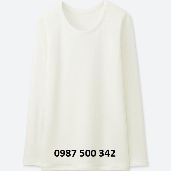Áo giữ nhiệt nữ cổ tròn Heattech Ultra Warm Uniqlo màu trắng 01 OFF WHITE