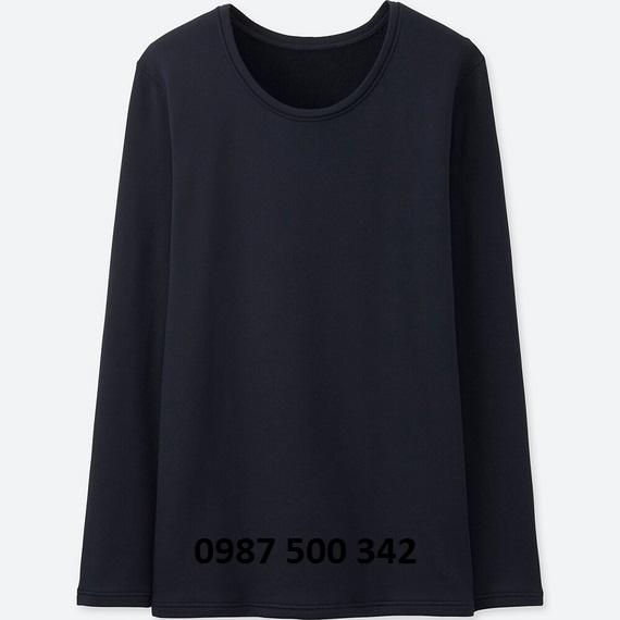 Áo giữ nhiệt nữ cổ tròn Heattech Ultra Warm Uniqlo màu xanh đen 69 NAVY