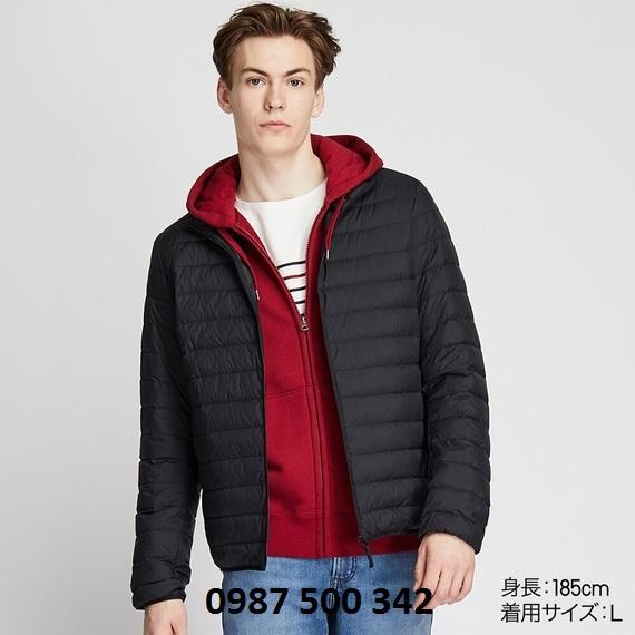 Áo lông vũ nam cổ trụ không mũ Uniqlo 2019 mã 419994 màu đen 09 BLACK