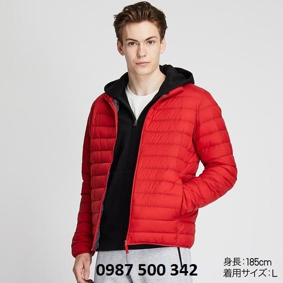 Áo lông vũ nam cổ trụ không mũ Uniqlo 2019 mã 419994 màu đỏ 15 RED