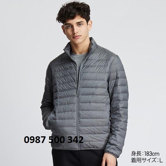 Áo lông vũ nam cổ trụ không mũ Uniqlo 2019 mã 419994 màu xám đậm 05 GRAY