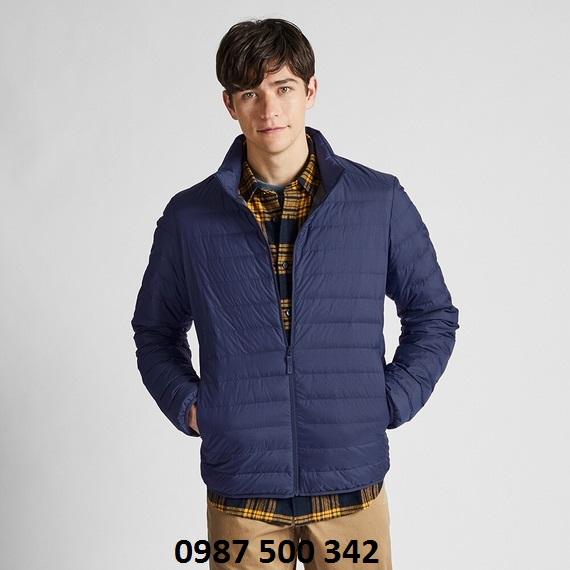 Áo lông vũ nam cổ trụ không mũ Uniqlo 2019 mã 419994 màu xanh biển 66 BLUE