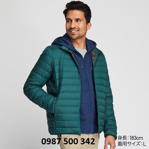 Áo lông vũ nam cổ trụ không mũ Uniqlo 2019 mã 419994 màu xanh cổ vịt 55 GREEN