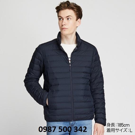 Áo lông vũ nam cổ trụ không mũ Uniqlo 2019 mã 419994 màu xanh đen 69 NAVY