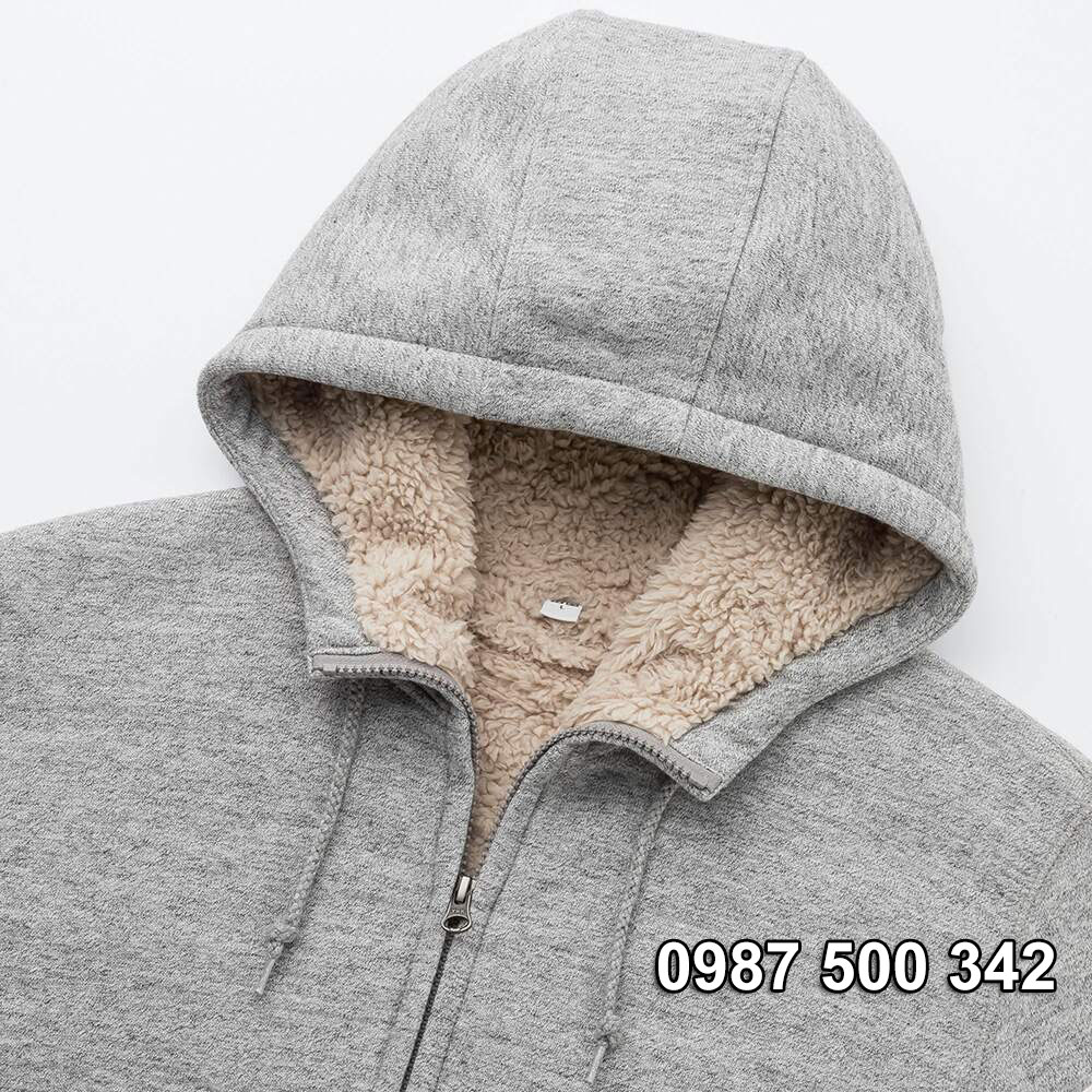 Mũ áo nỉ lót lông cừu nam Uniqlo 2019 - 2020