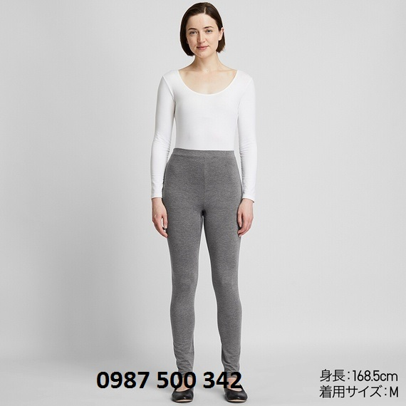 Quần giữ nhiệt nữ Heattech Extra Warm Uniqlo màu xám 08 DARK GRAY