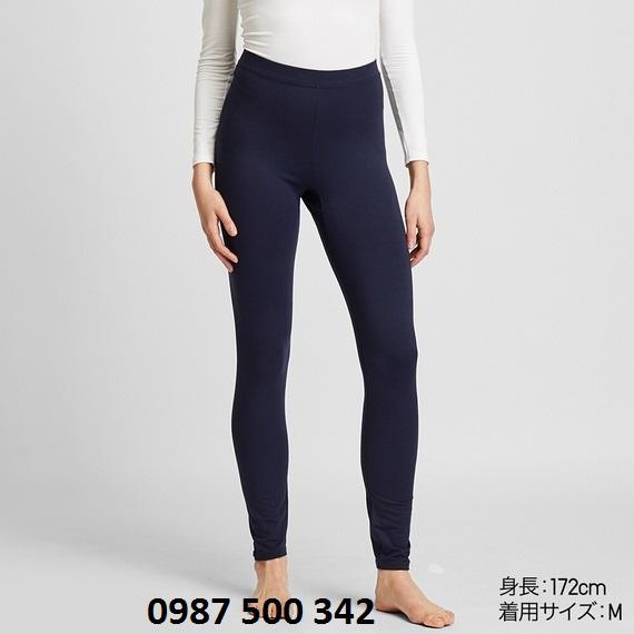 Quần giữ nhiệt nữ Heattech Extra Warm Uniqlo màu xanh đen 69 NAVY