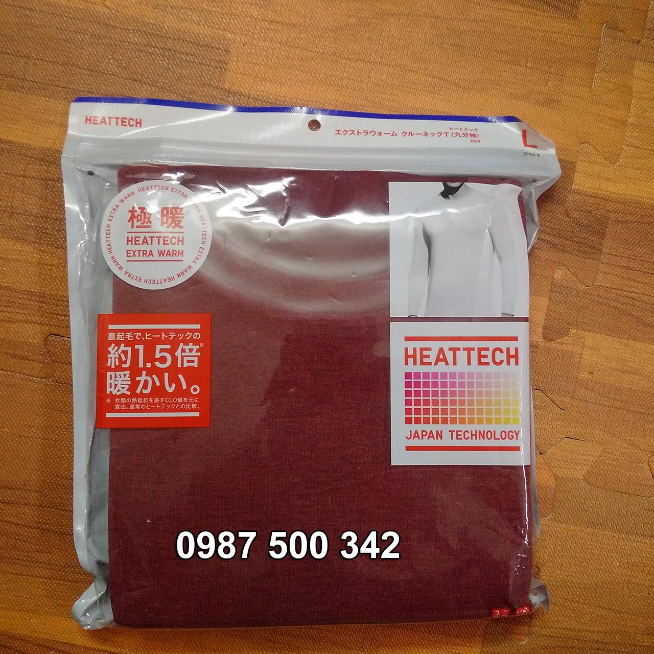 Ảnh thật áo giữ nhiệt nam cổ tròn Heattech Extra Warm màu đỏ 17 RED