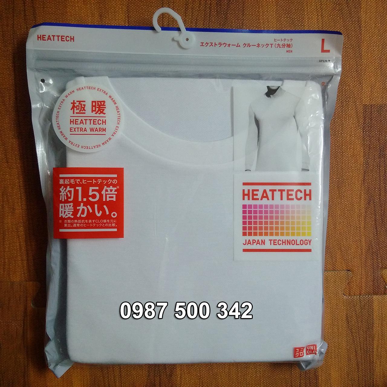 Ảnh thật áo giữ nhiệt nam cổ tròn Heattech Extra Warm màu trắng 00 White