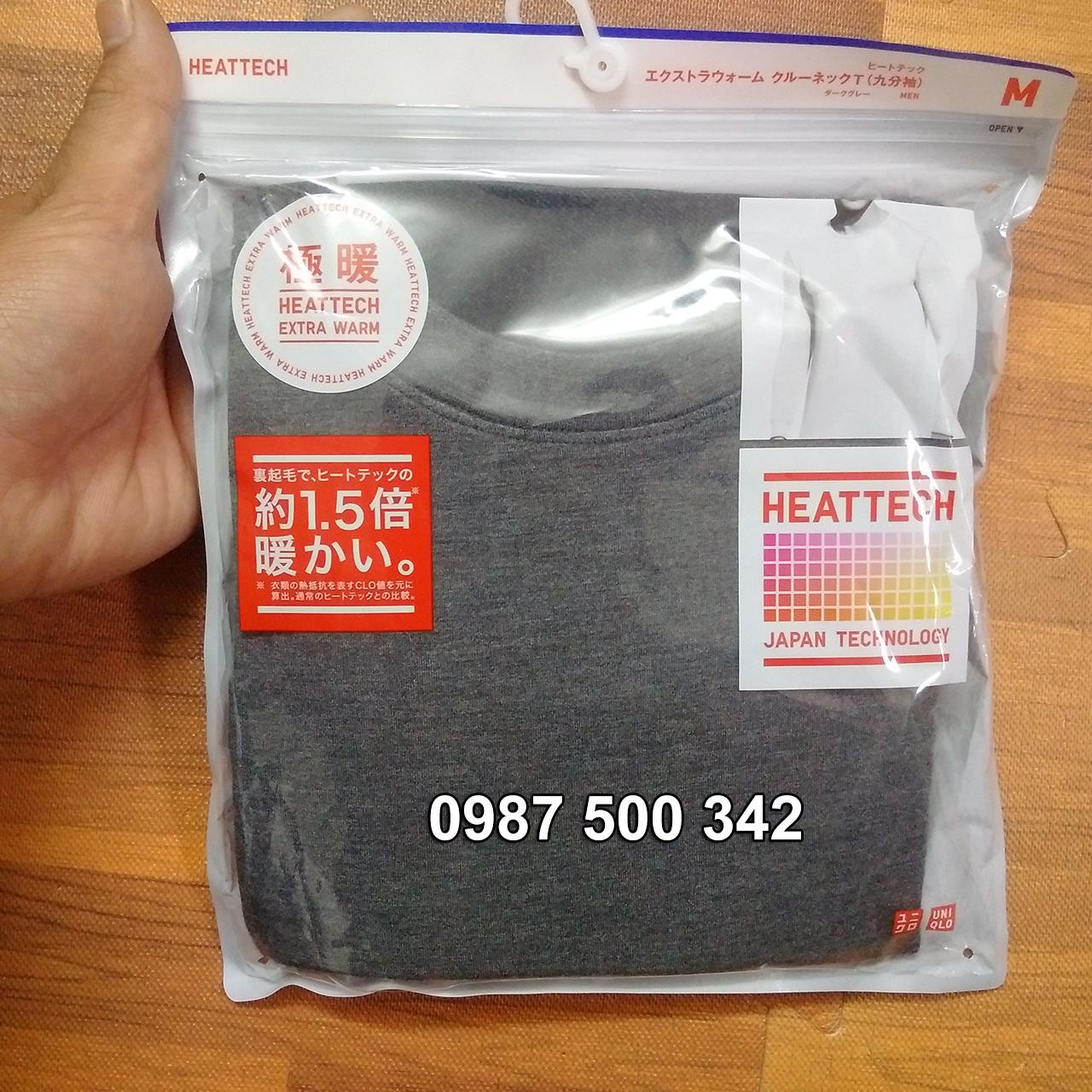 Ảnh thật áo giữ nhiệt nam cổ tròn Heattech Extra Warm màu xám đậm 08 Dark Gray