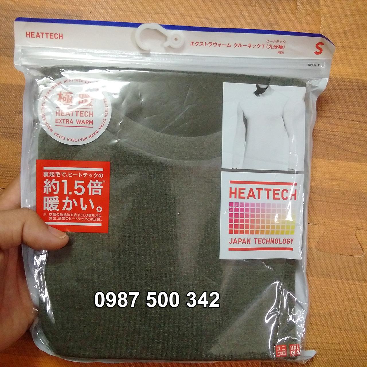 Ảnh thật áo giữ nhiệt nam cổ tròn Heattech Extra Warm màu xanh rêu 57 Olive