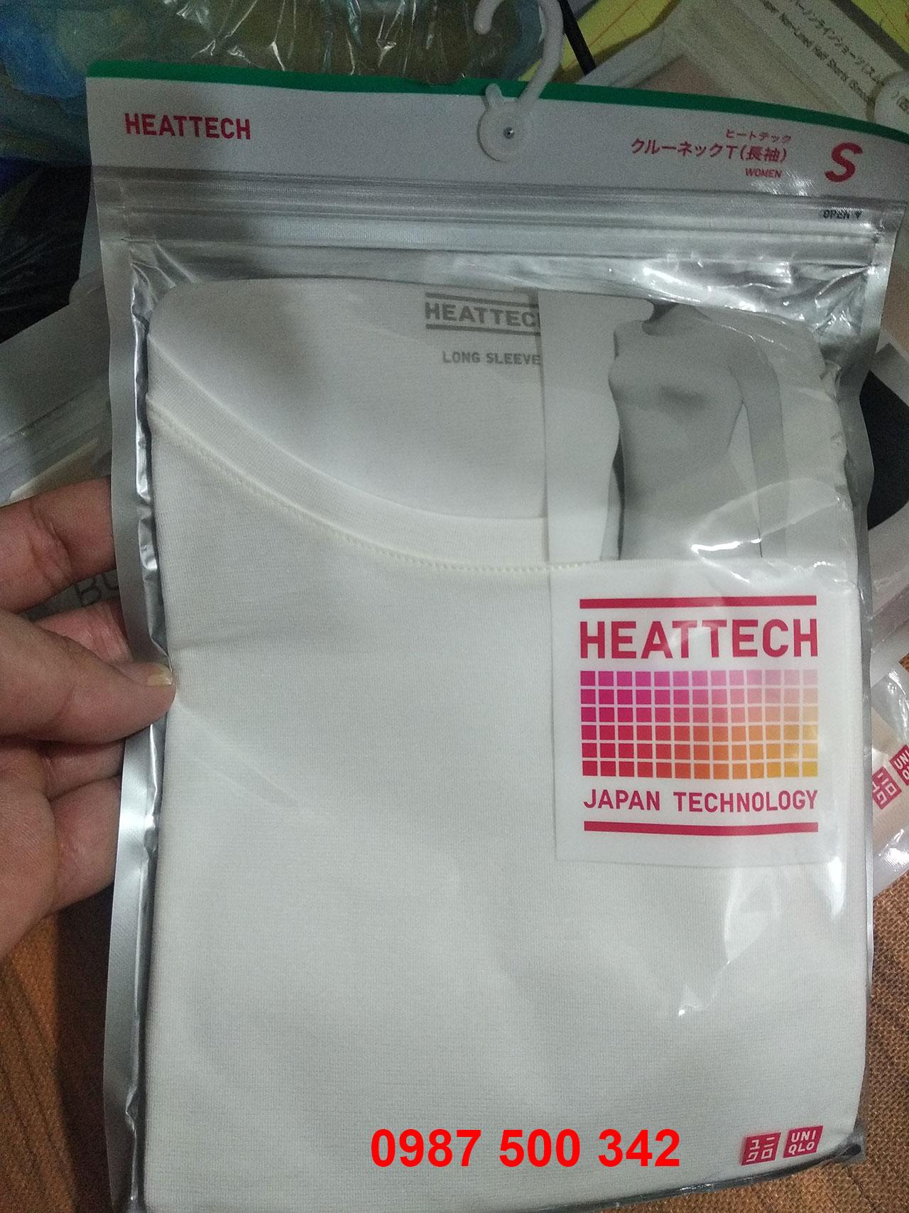 Ảnh thật áo giữ nhiệt Heattech Uniqlo nữ loại thường cổ tròn màu trắng