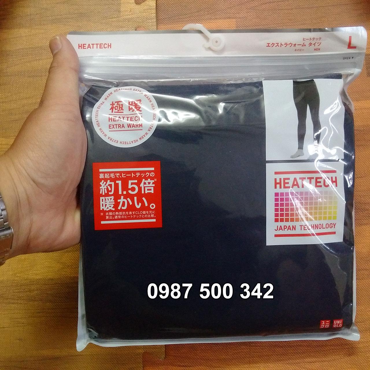 Ảnh thật quần giữ nhiệt nam Heattech Extra Warm Uniqlo màu xanh đen