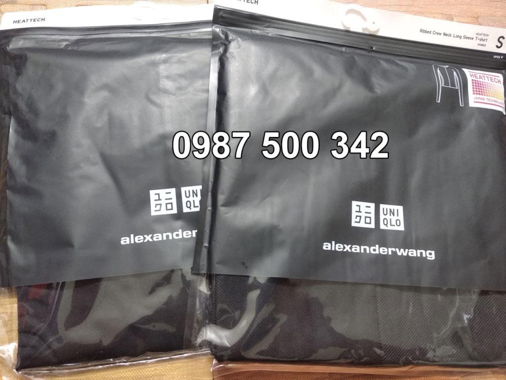 Áo giữ nhiệt Uniqlo Alexander Wang vải mịn và vải vân tăm màu đen