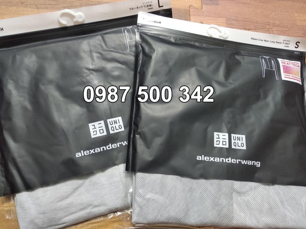 Áo giữ nhiệt Uniqlo Alexander Wang vải mịn và vải vân tăm màu ghi