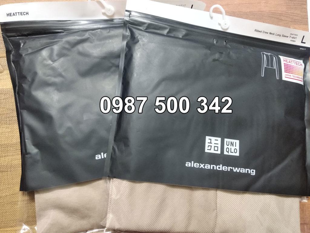 Áo giữ nhiệt Uniqlo Alexander Wang vải mịn và vải vân tăm màu nâu