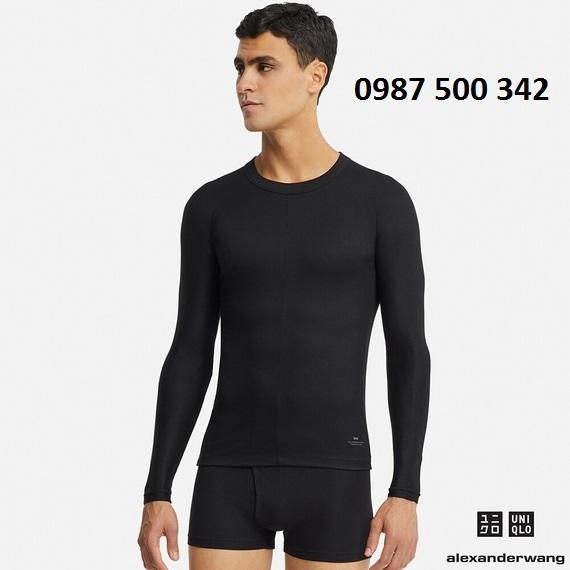 Áo giữ nhiệt nam cổ tròn dòng Uniqlo Alexander Wang, áo màu đen 09 Black