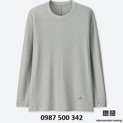 Áo giữ nhiệt nam cổ tròn dòng Uniqlo Alexander Wang, áo màu ghi 04 Gray