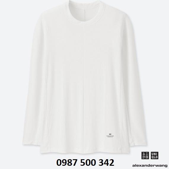 Áo giữ nhiệt nam cổ tròn dòng Uniqlo Alexander Wang, áo màu trắng 00 WHITE