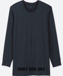 Áo giữ nhiệt Heattech Uniqlo nam cổ tròn loại thường màu xanh đen 69 NAVY