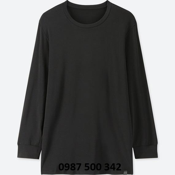 Áo giữ nhiệt nam Uniqlo Heattech Extra Warm cổ tròn màu đen 09 BLACK
