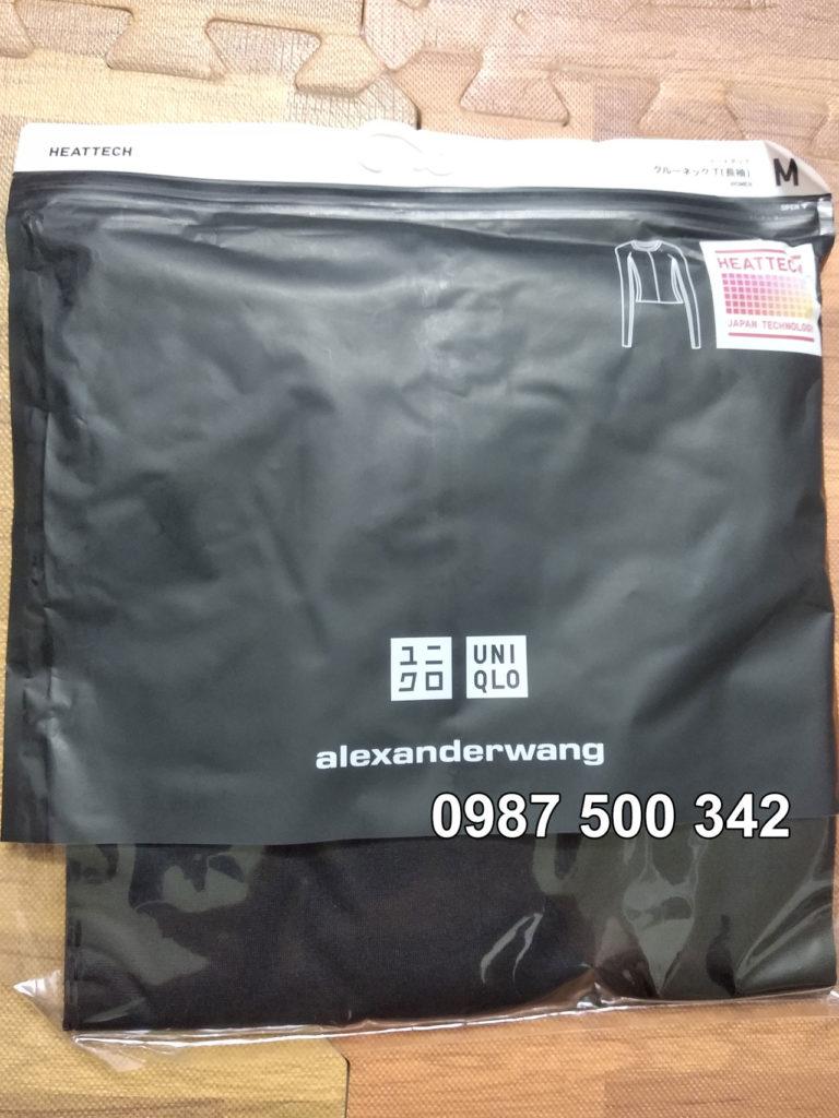 Ảnh thật áo giữ nhiệt nữ Uniqlo Alexander Wang mã 413381 chất vải mịn màu đen 09 Black