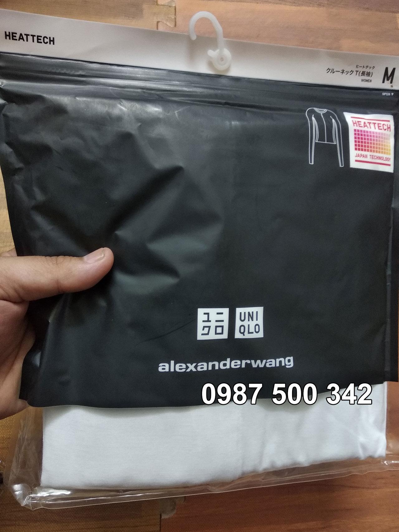 Ảnh thật áo giữ nhiệt nữ Uniqlo Alexander Wang mã 413381 chất vải mịn màu trắng 00 White