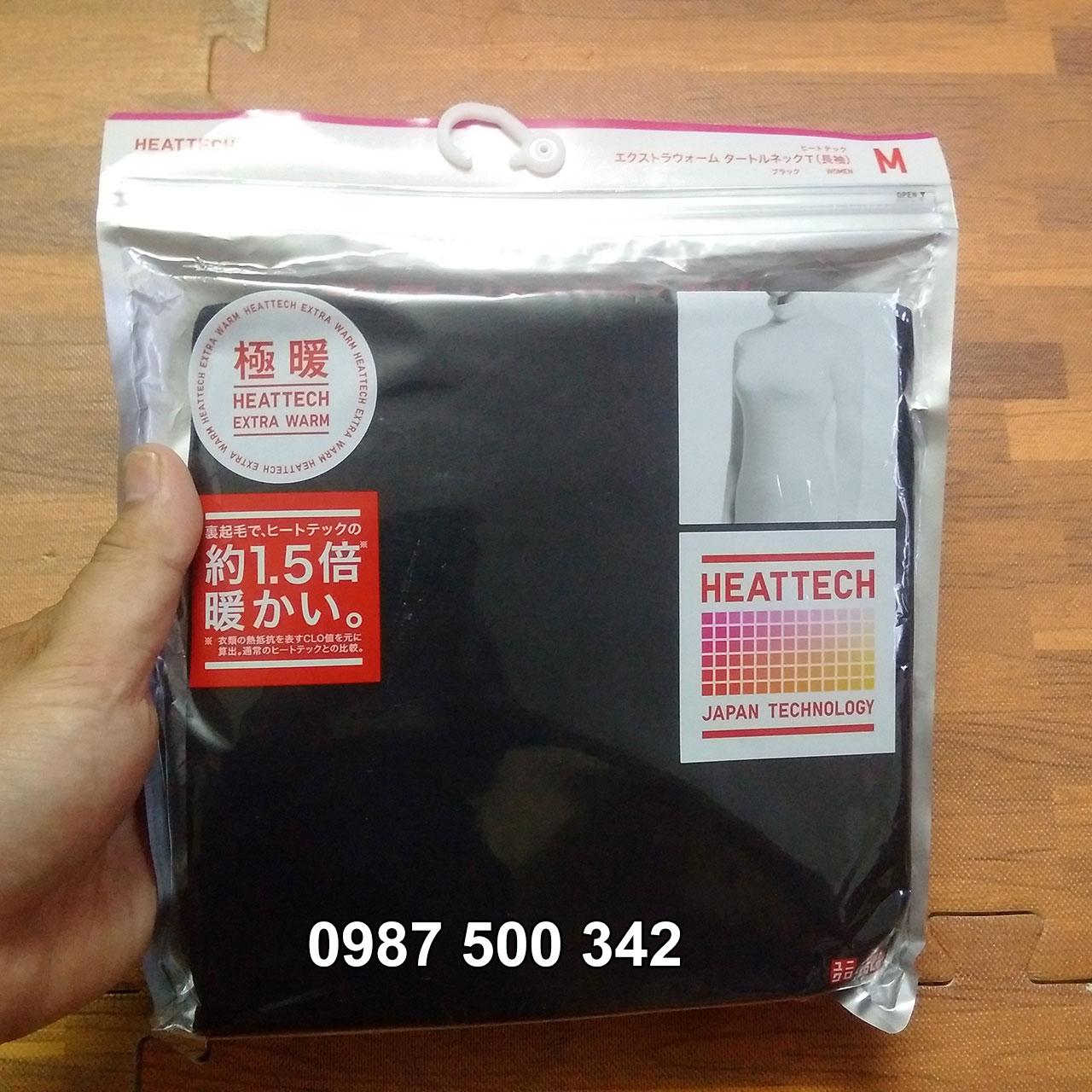 Ảnh thật Áo giữ nhiệt nữ cổ lọ Heattech Extra Warm Uniqlo màu đen