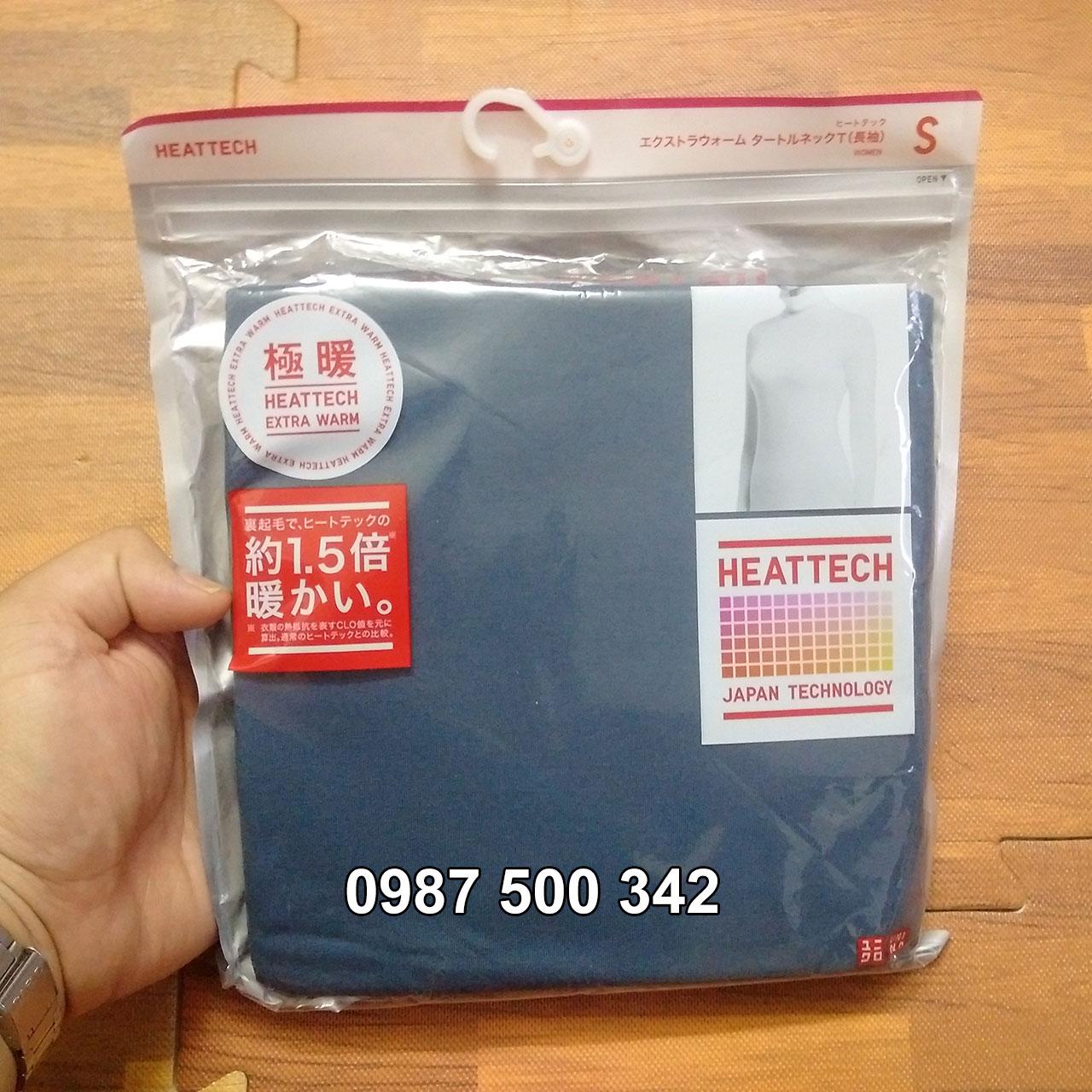 Ảnh thật Áo giữ nhiệt nữ cổ lọ Heattech Extra Warm Uniqlo màu xanh biển