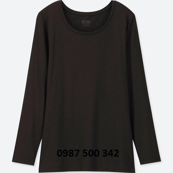Áo giữ nhiệt nữ cổ tròn Heattech Uniqlo loại thường màu đen 09 BLACK