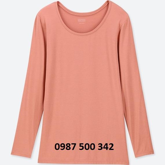 Áo giữ nhiệt nữ cổ tròn Heattech Uniqlo loại thường màu hồng 12 PINK