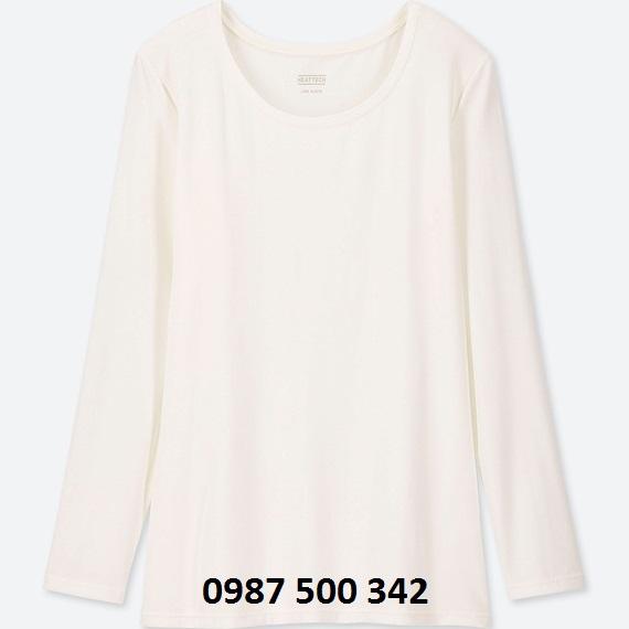 Áo giữ nhiệt nữ cổ tròn Heattech Uniqlo loại thường màu trắng 01 OFF WHITE