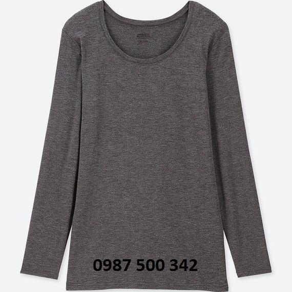 Áo giữ nhiệt nữ cổ tròn Heattech Uniqlo loại thường màu xám 08 DARK GRAY