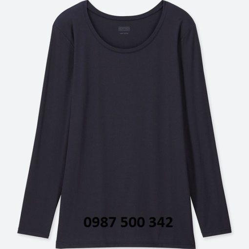 Áo giữ nhiệt nữ cổ tròn Heattech Uniqlo loại thường màu xanh đen 69 NAVY