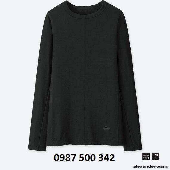 Áo giữ nhiệt nữ Uniqlo Alexander Wang cổ tròn vải mịn màu đen 09 Black