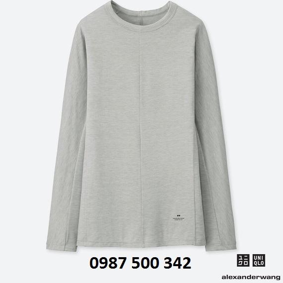 Áo giữ nhiệt nữ Uniqlo Alexander Wang cổ tròn vải mịn màu ghi 04 Gray