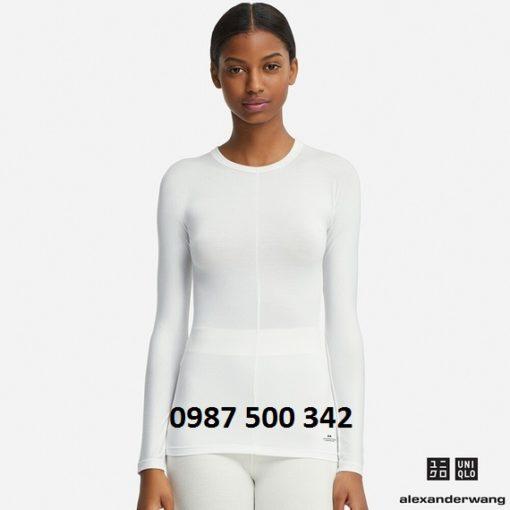 Áo giữ nhiệt nữ Uniqlo Alexander Wang cổ tròn vải mịn màu trắng 00 WHITE