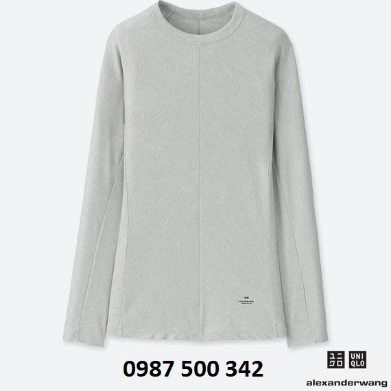 Áo giữ nhiệt nữ Uniqlo Alexander Wang chất vải vân tăm màu ghi 04 Gray